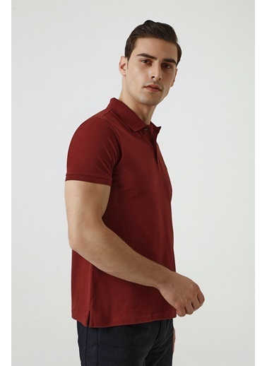 D'S Damat Regular Fit Yavruağzı Pike Dokulu T-Shirt Bordo
